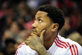 Oct 24, 2014; St. Louis, MO, USA; Chicago Bulls guard Derrick Rose (1) looks on from the bench during the second quarter against the Minnesota Timberwolves at Scottrade Center. Mandatory Credit: Jeff Curry-USA TODAY Sports