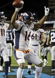 Denver Broncos' Bennie Fowler (16) celebrates after scoring a two point conversion during the second half of the NFL Super Bowl 50 football game Sunday, Feb. 7, 2016, in Santa Clara, Calif. (AP Photo/Ben Margot)