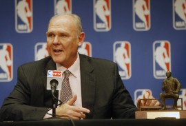 May 8, 2013; Denver, CO, USA; Denver Nuggets head coach George Karl during the press conference announcing him NBA coach of the year at the Pepsi Center.  Mandatory Credit: Chris Humphreys-USA TODAY Sports