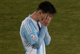 Argentina's Lionel Messi gestures in a penalty kick shoot-out with Chile during the Copa America final soccer match at the National Stadium in Santiago, Chile, Saturday, July 4, 2015. (AP Photo/Silvia Izquierdo)