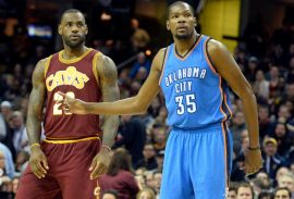 Dec 17, 2015; Cleveland, OH, USA; Oklahoma City Thunder forward Kevin Durant (35) guards Cleveland Cavaliers forward LeBron James (23) in the first quarter at Quicken Loans Arena. Mandatory Credit: David Richard-USA TODAY Sports