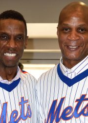 NEW YORK, NY - MAY 28:  Dwight Gooden and Darryl Strawberry at the 1986 Mets 30th Anniversary Reunion Celebration held at Citi Field on May 28, 2016 in New York City.  (Photo by Adrian Edwards/WireImage)