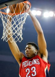 Oct 28, 2014; New Orleans, LA, USA; New Orleans Pelicans forward Anthony Davis (23) dunks against the New Orleans Pelicans during the first quarter of a game at the Smoothie King Center. Mandatory Credit: Derick E. Hingle-USA TODAY Sports
